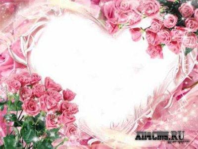 Романтика розовых роз.Рамка для фото.