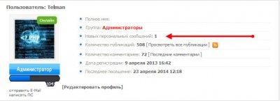 Выводим количество новых ЛС в профиле userinfo.tpl