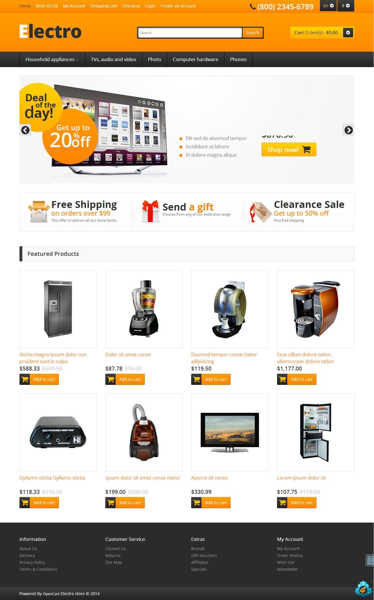 Шаблон интернет магазина электроники
