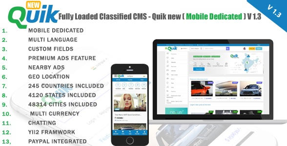 Fully Loaded Classified Ads CMS - Quik new V 1.3